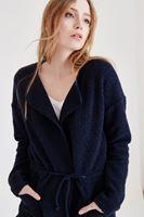 Bayan Lacivert Bağlamalı Ceket
