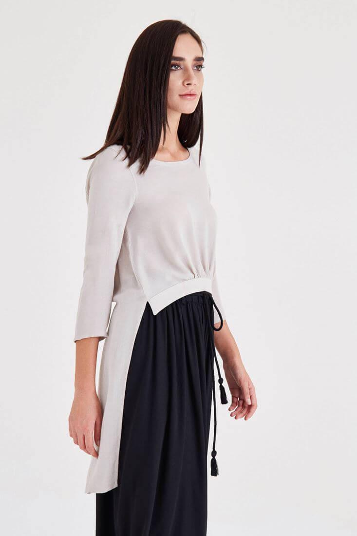 Bayan Krem Arkası Uzun Önü Kısa Bluz