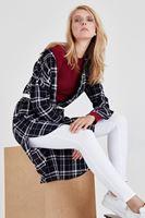 Bayan Siyah Uzun Kareli Gömlek