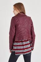 Bayan Bordo Deri Ceket