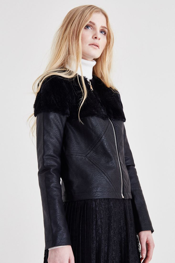Siyah Kürk Detaylı Deri Ceket