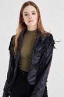 Bayan Siyah Püsküllü Deri Ceket