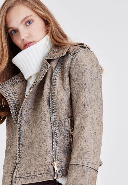 Kahverengi Yıkama Efektli Ceket