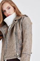 Bayan Kahverengi Yıkama Efektli Ceket
