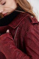 Bayan Bordo Yıkama Efektli Ceket