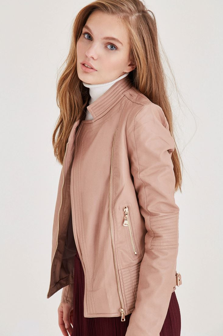 Cream Leather Looking Jacket