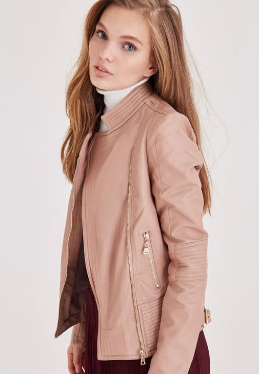 Krem Deri Görünümlü Ceket