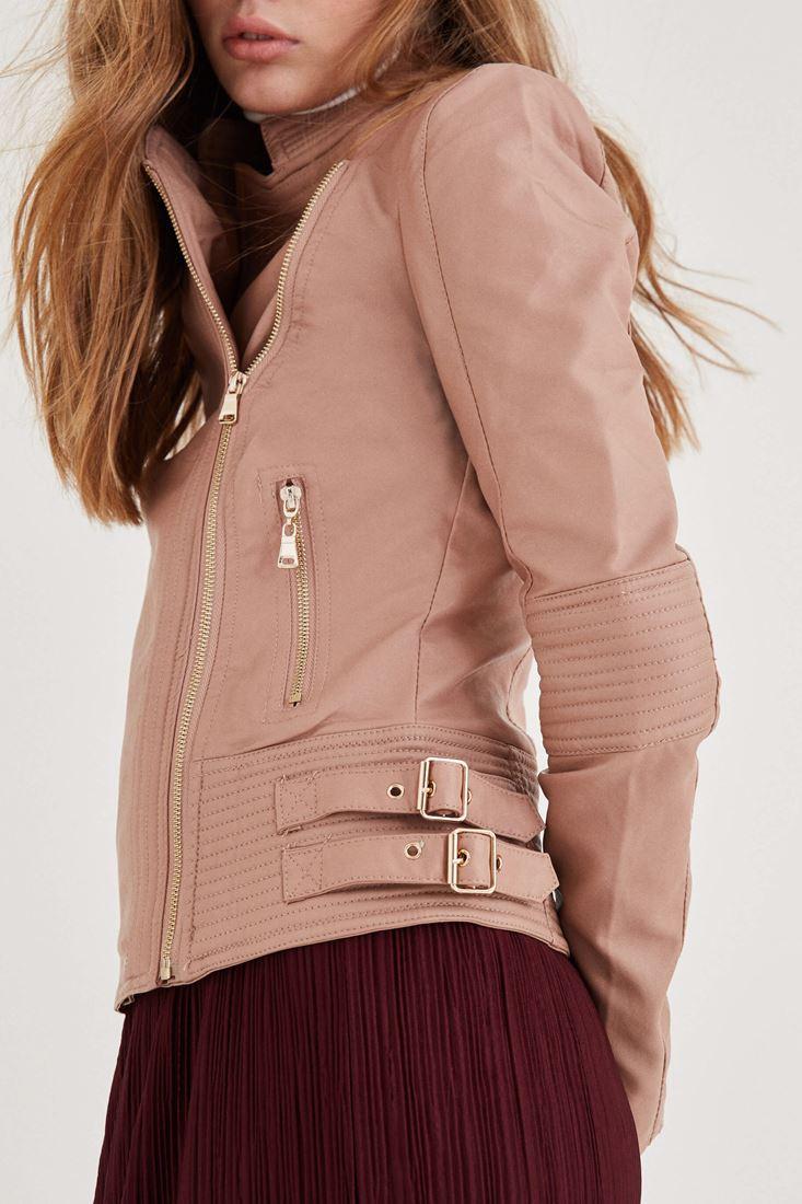 Bayan Krem Deri Görünümlü Ceket