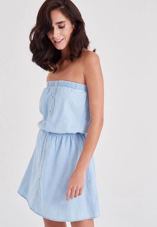 Mavi Straplez Kot Elbise