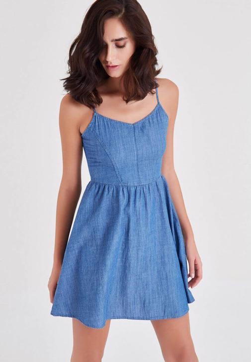Mavi Askılı Kot Elbise