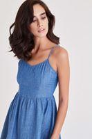 Bayan Mavi Askılı Kot Elbise