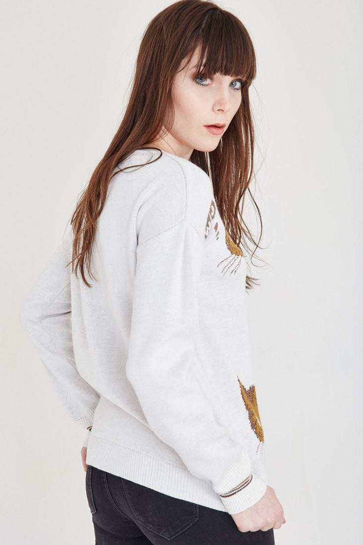 Bayan Krem Kedi Desenli Kazak