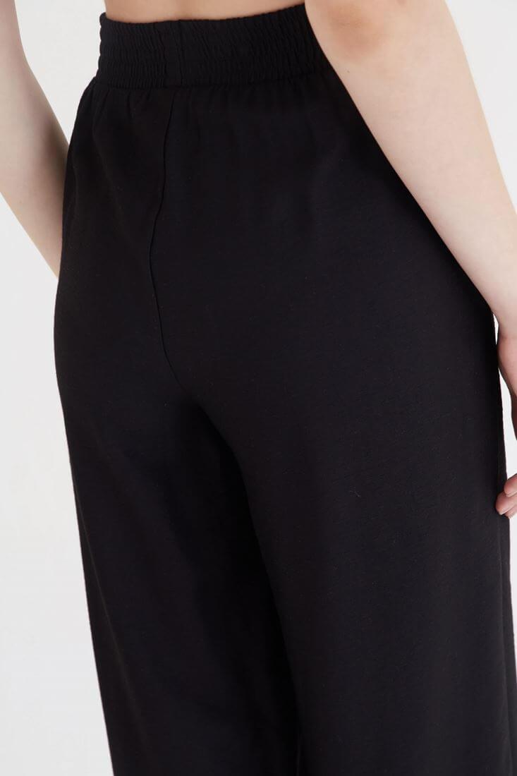 Bayan Siyah Kısa Paçalı Bol Kesim Pantolon