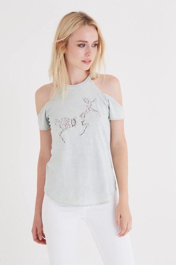 Bayan Yeşil Omuz Detaylı T-shirt