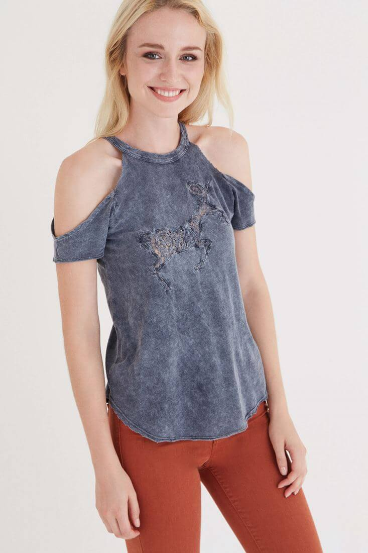 Gri Omuz Detaylı T-shirt