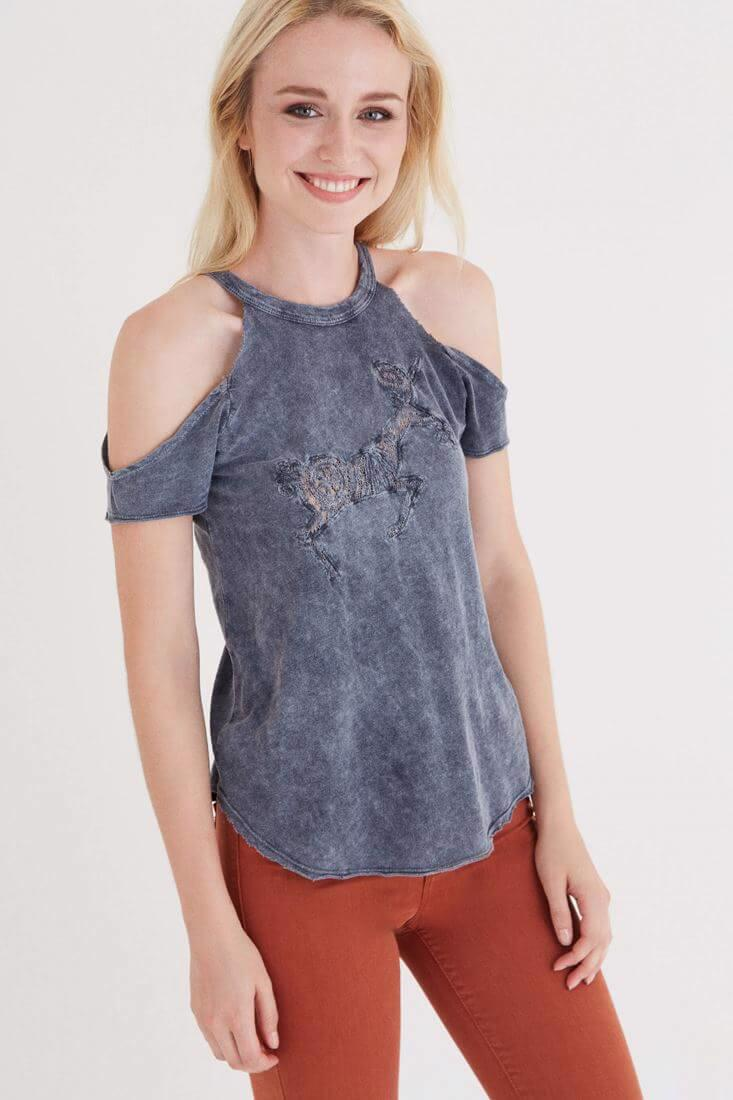 Bayan Gri Omuz Detaylı T-shirt