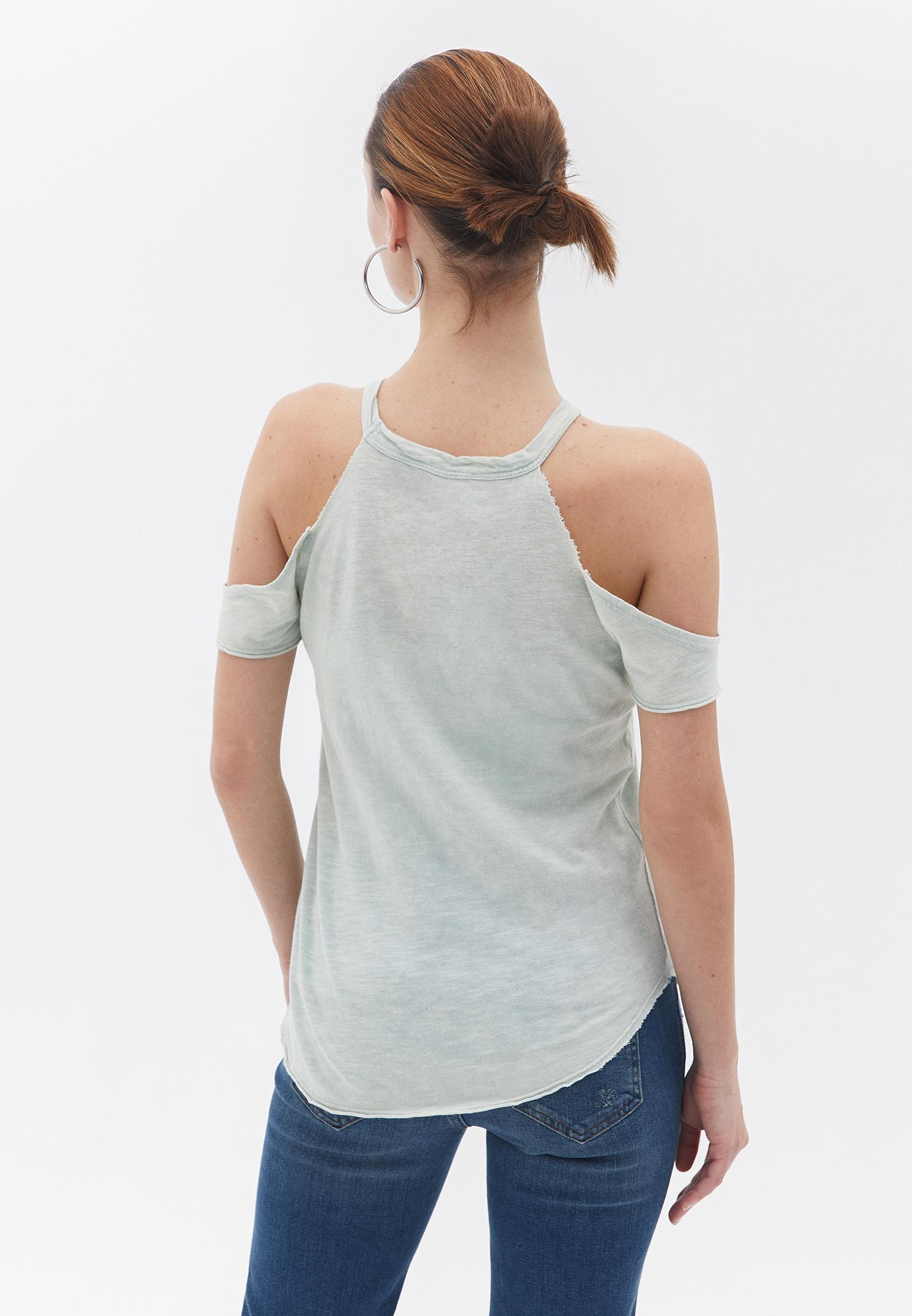 Bayan Yeşil Dantelli Omuzları Detaylı Tişört