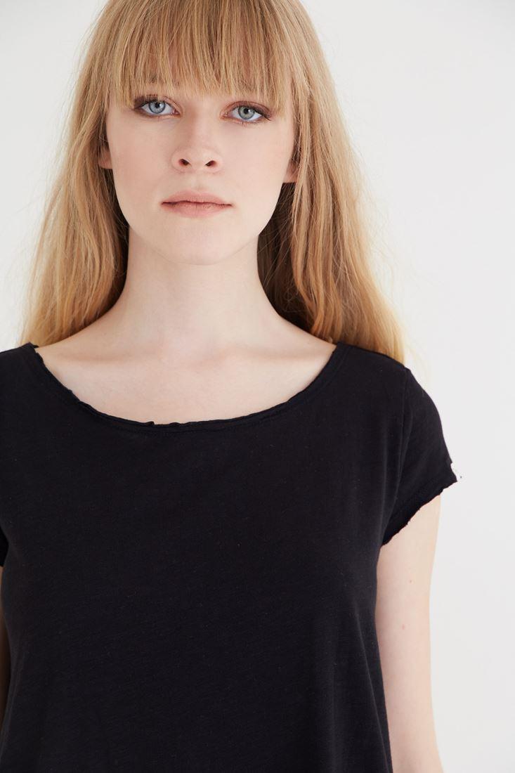 Bayan Siyah Bol Kesim Tişört