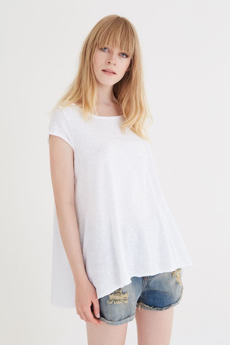 Bayan Beyaz Bol Kesim Tişört