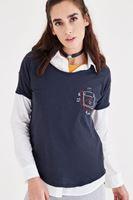 Bayan Lacivert Nakış Detaylı Tişört