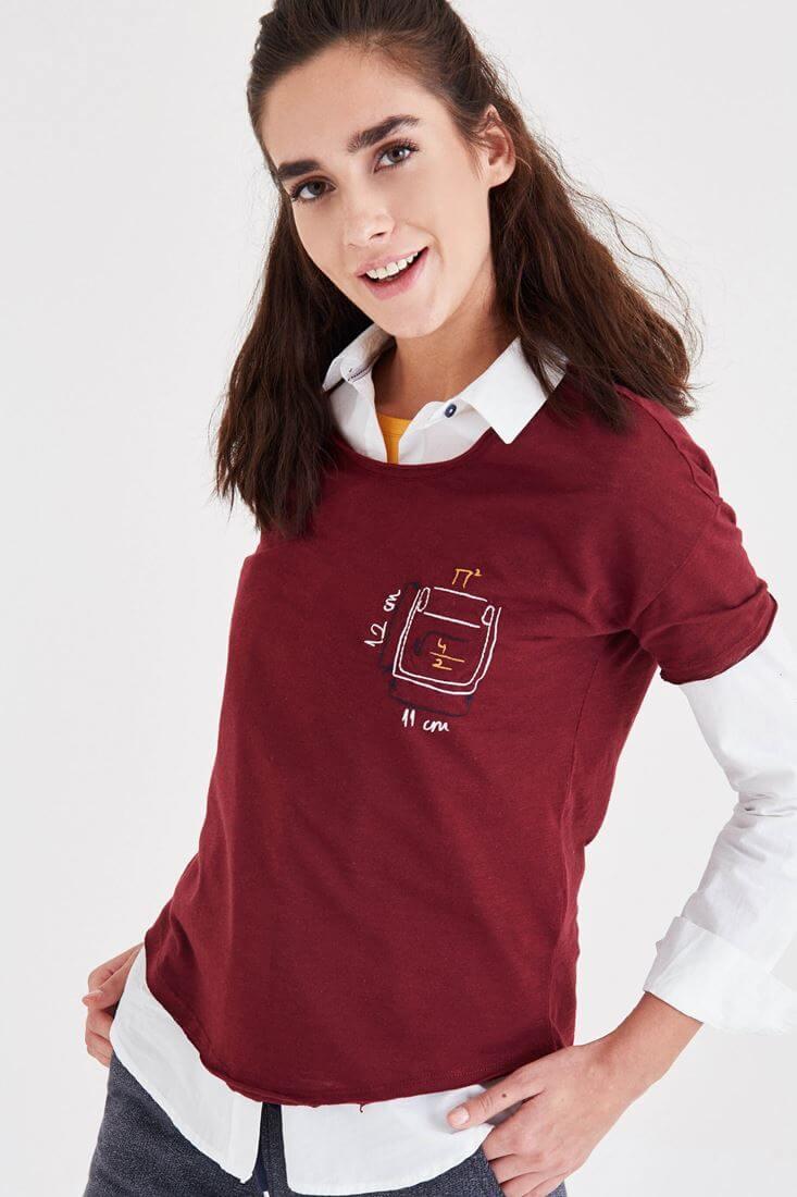 Bayan Bordo Nakış Detaylı Tişört