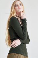 Bayan Yeşil Biye Detaylı Tişört