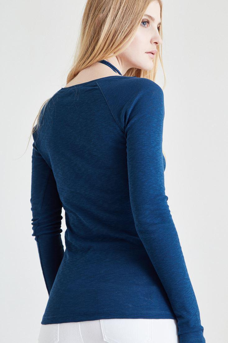 Bayan Mavi Biye Detaylı Tişört