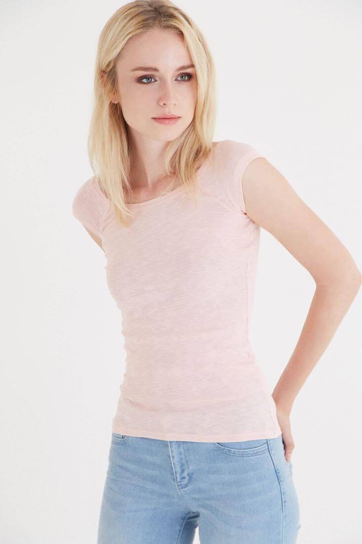 Bayan Pembe Bot Yaka Kısa Kollu Tişört