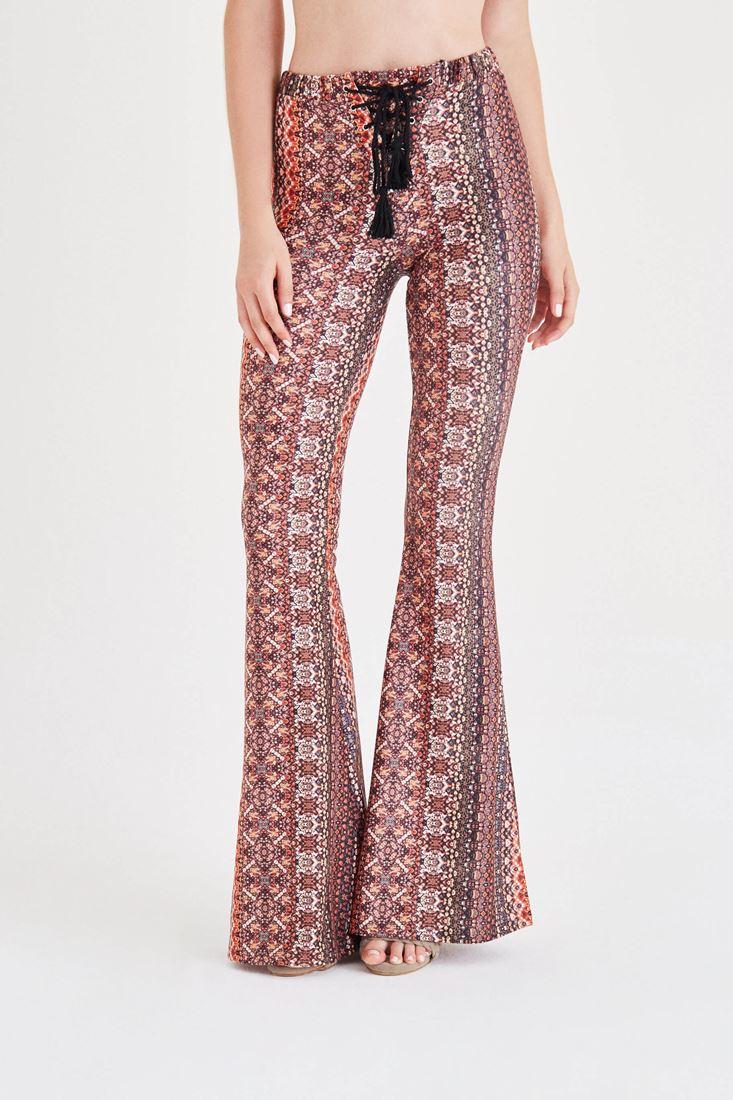 Çok Renkli Desenli İspanyol Paça Pantolon