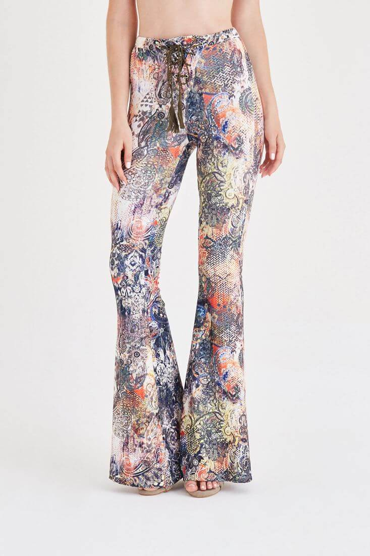 Mixed Printed Flare Leg Pants