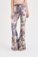 Bayan Çok Renkli Desenli İspanyol Paça Pantolon