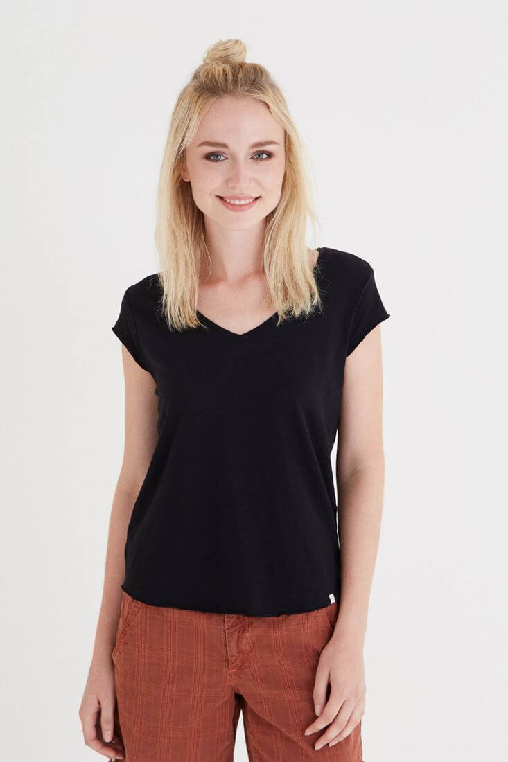Bayan Siyah V Yaka Pamuk Tişört
