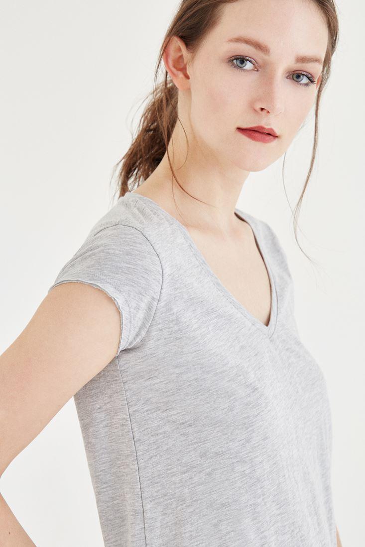 Bayan Gri V Yaka Pamuk Tişört