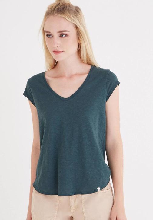 Yeşil V Yaka Pamuk Tişört