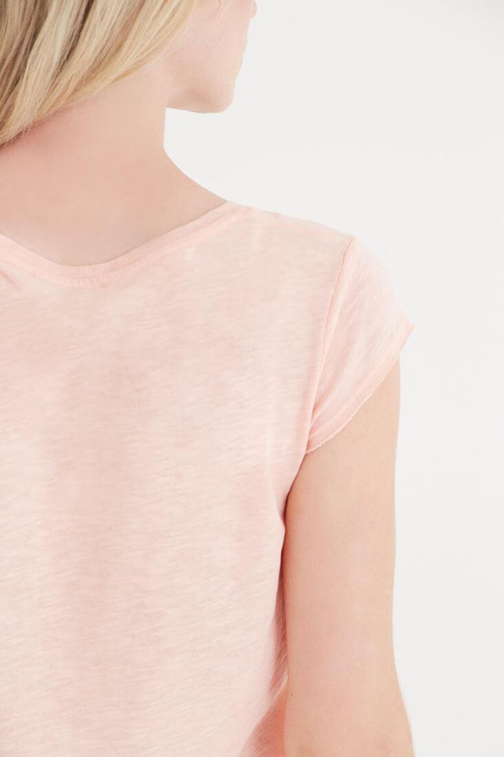 Bayan Pembe V Yaka Pamuk Tişört