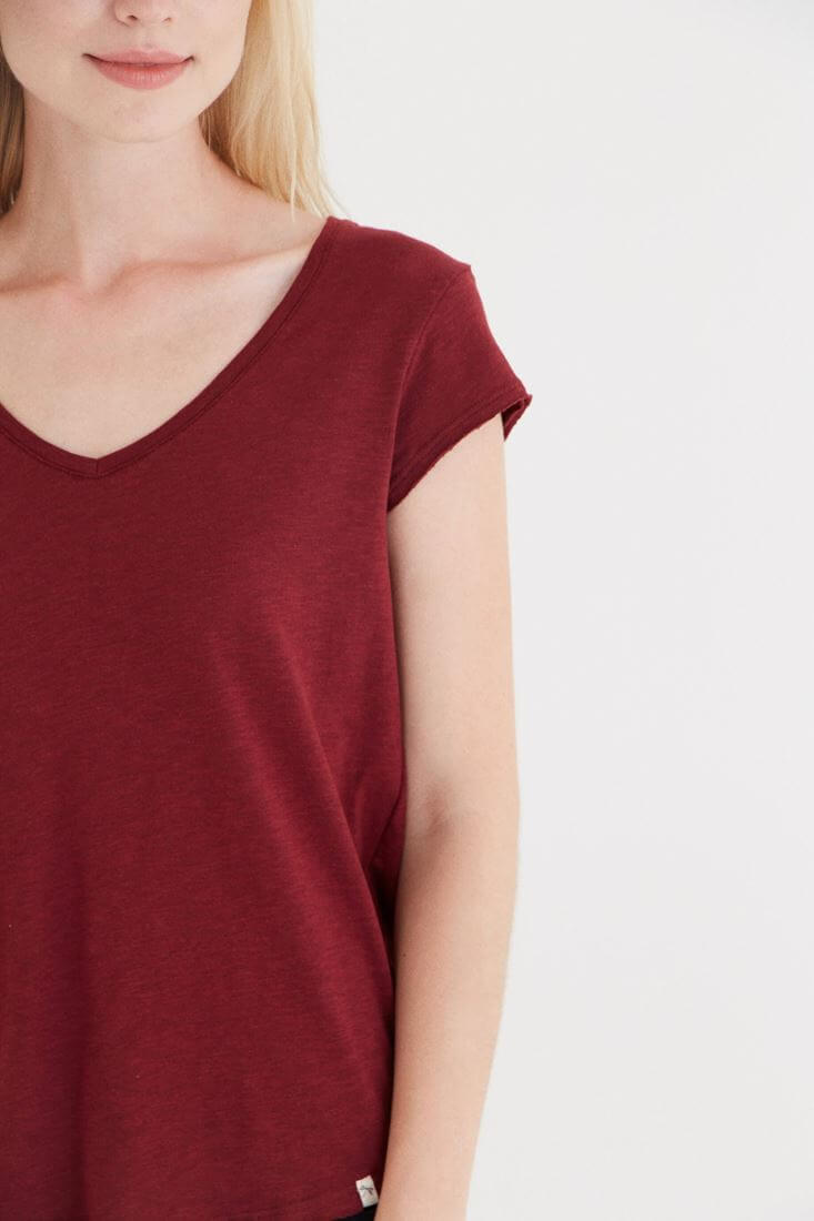 Bayan Bordo V Yaka Pamuk Tişört