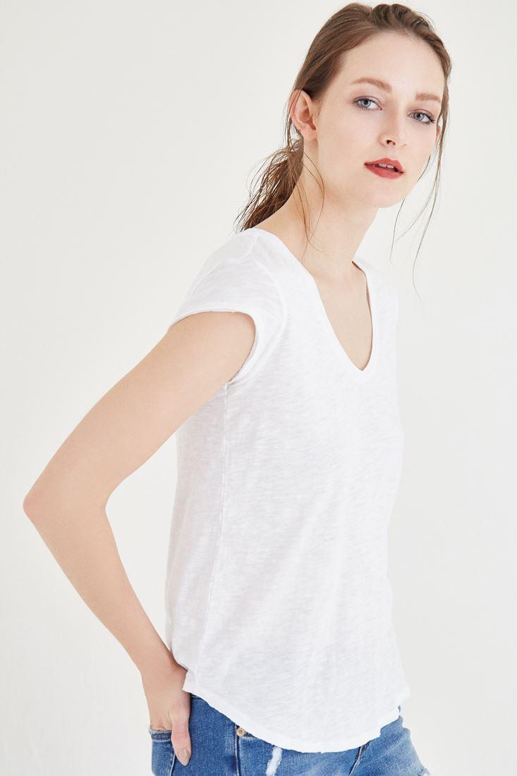 Bayan Beyaz V Yaka Pamuk Tişört