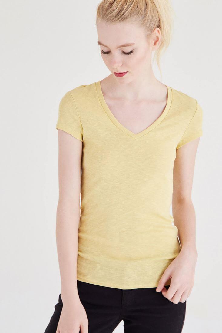 Sarı Basic V Yaka Tişört