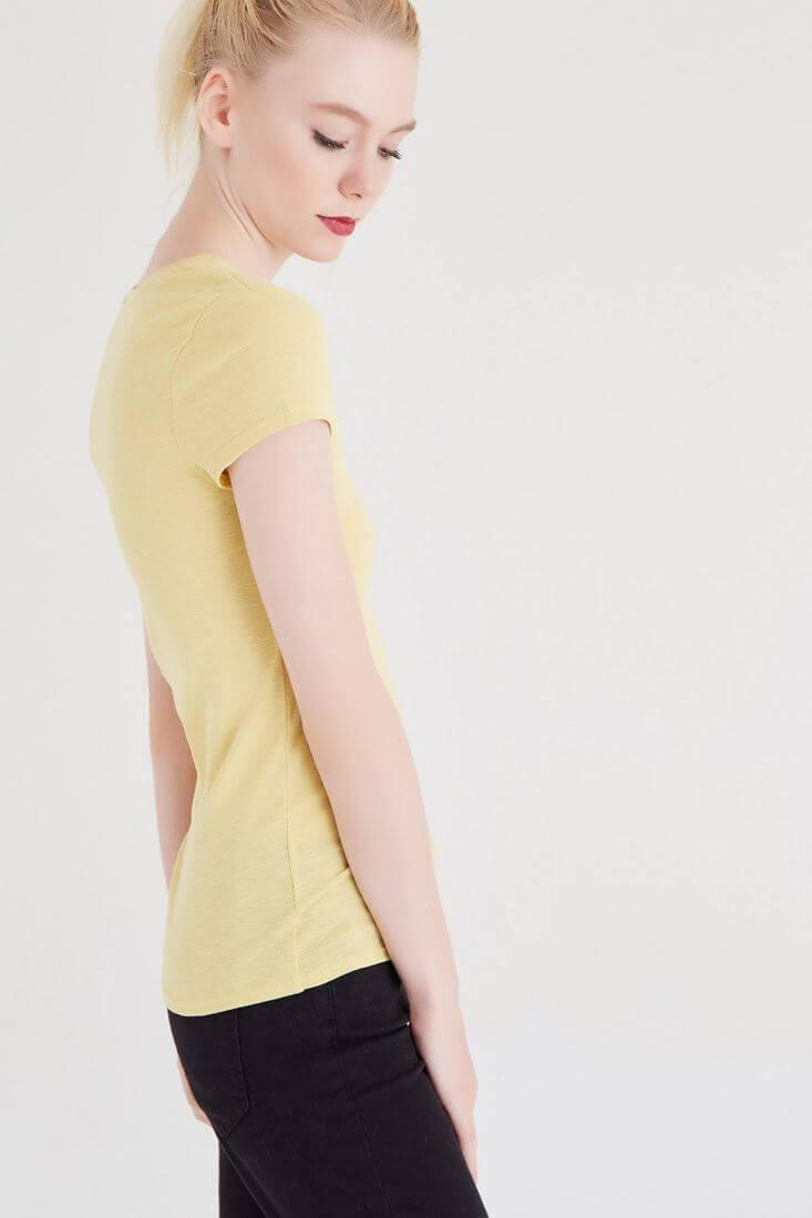 Bayan Sarı Basic V Yaka Tişört