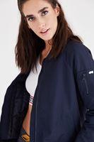 Bayan Lacivert Sırt Detaylı Bomber Ceket