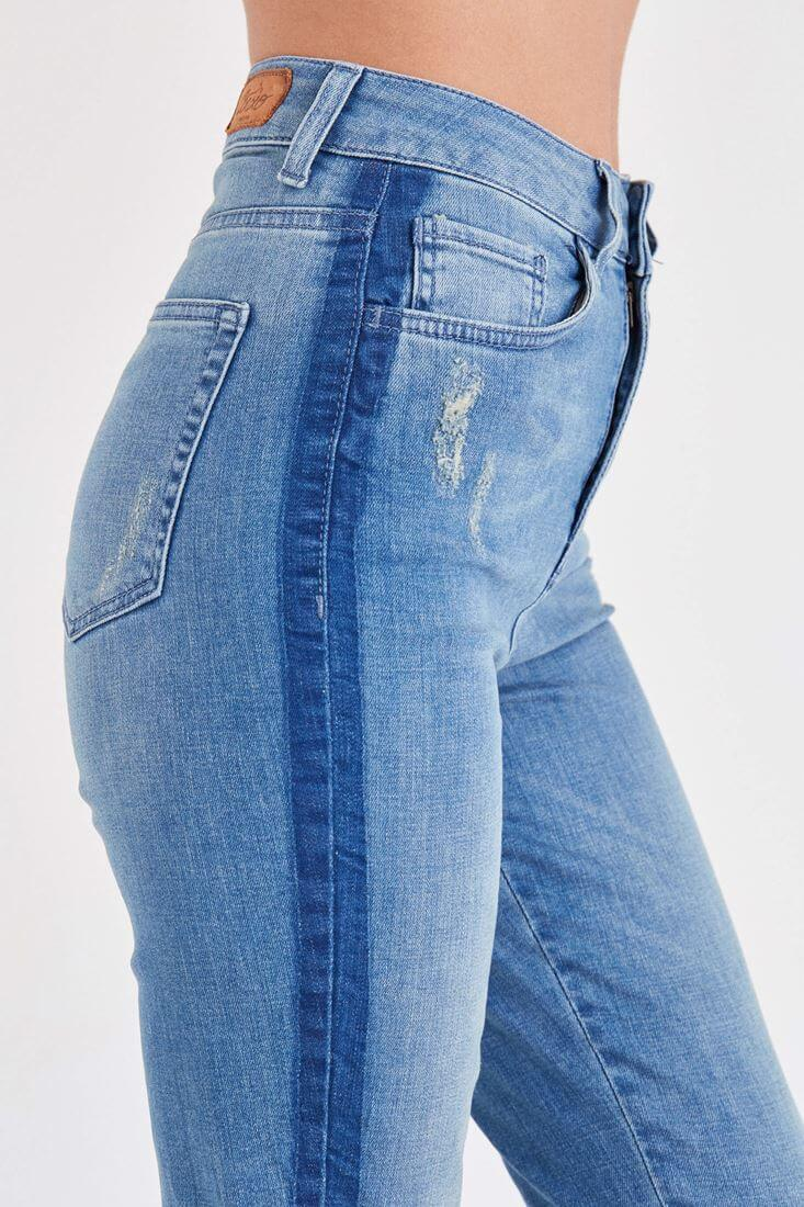 Bayan Mavi Nakış Detaylı Jean Pantolon