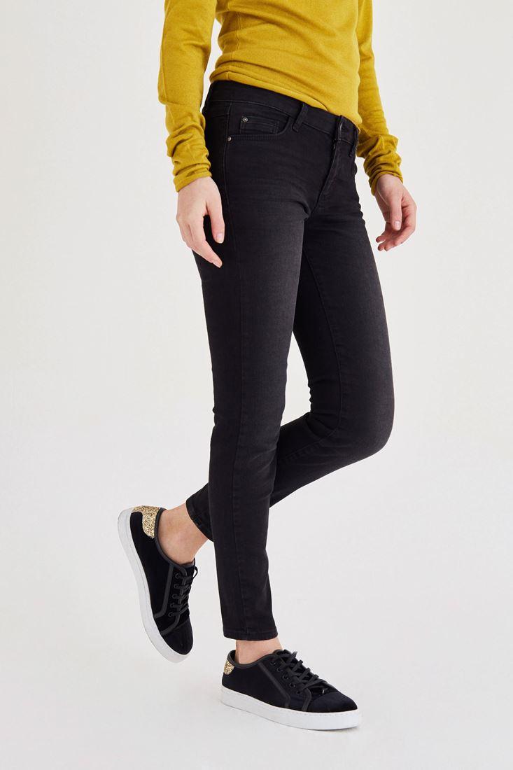 Bayan Siyah Düşük Bel Dar Paça Pantolon