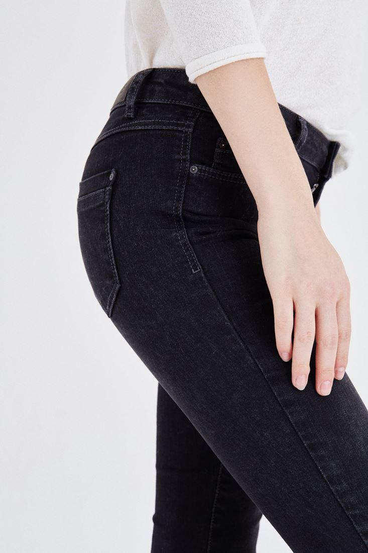 Bayan Gri Düşük Bel Dar Paça Pantolon