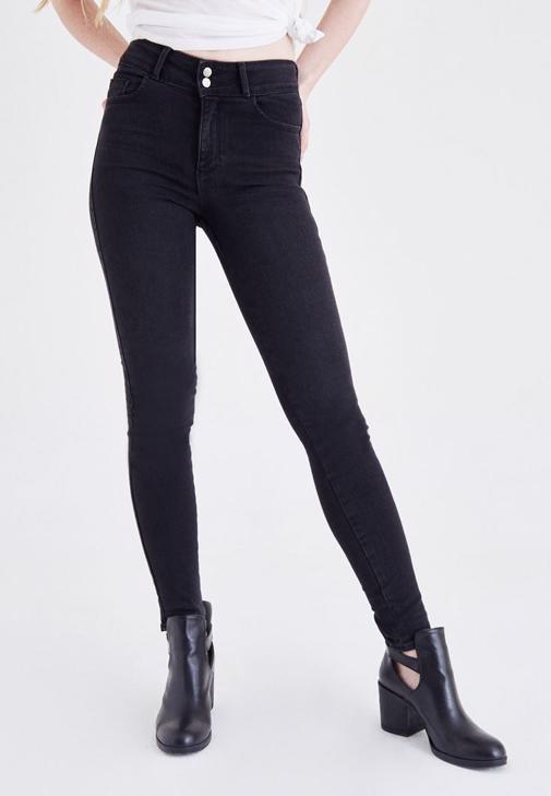 Siyah Yüksek Bel Skinny Jean