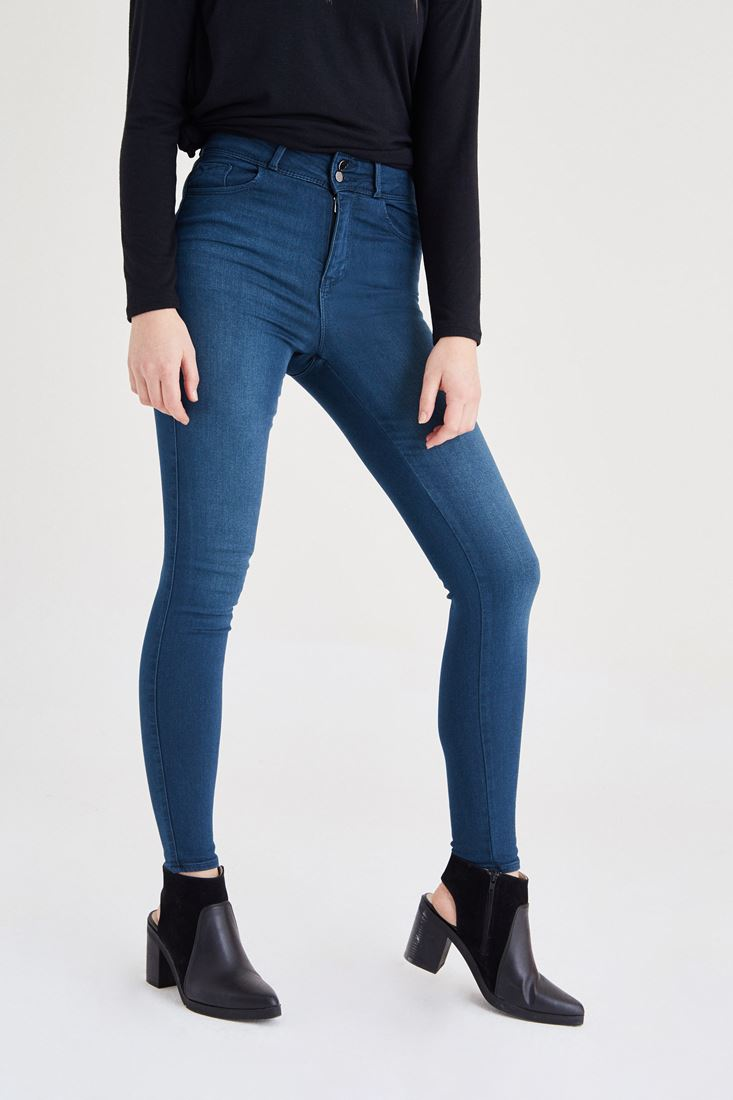 Bayan Yeşil Yüksek Bel Skinny Jean