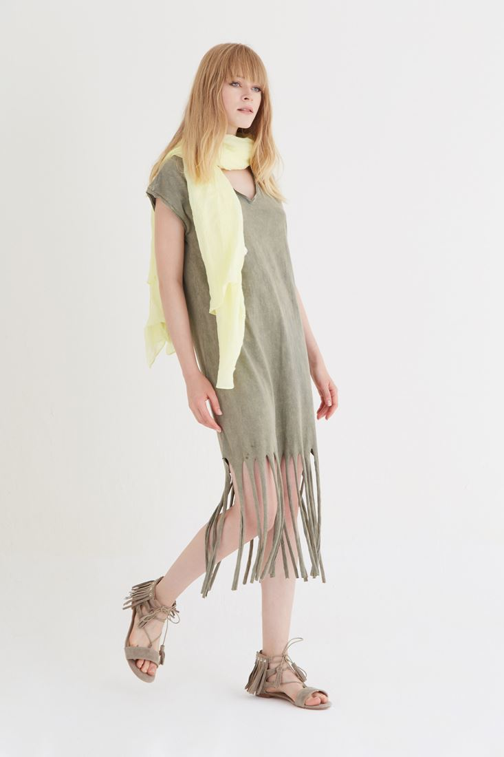 Bayan Yeşil Püsküllü Elbise