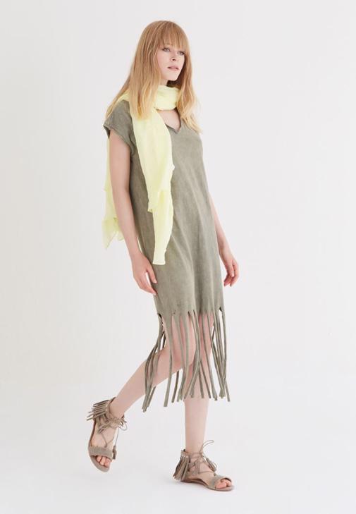 Yeşil Püsküllü Elbise