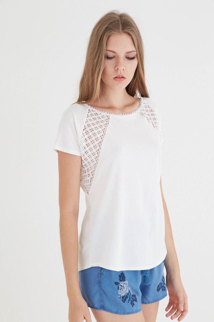 Bayan Krem Dantel Detaylı Tişört