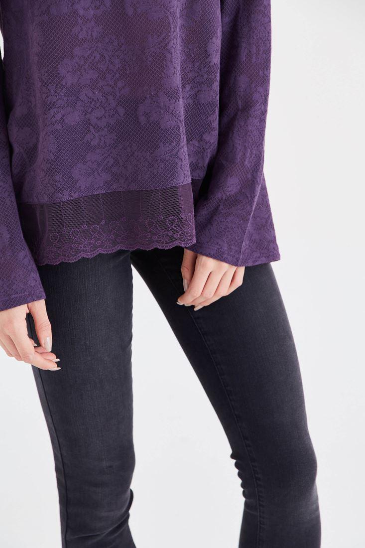 Bayan Mor Dantel Detaylı Bluz