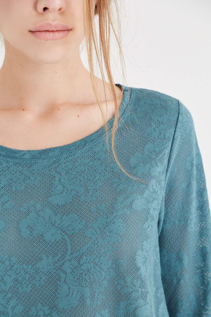 Bayan Yeşil Dantel Detaylı Bluz